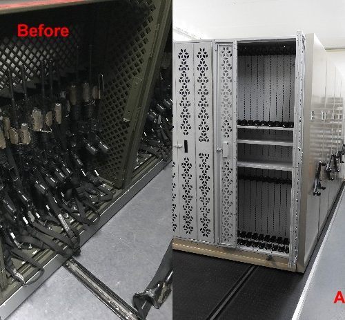 Mobile Weapon Rack Before and After