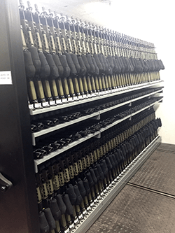 Combat Weapon Storage Systems - High Density Mobile Weapon Shelving System