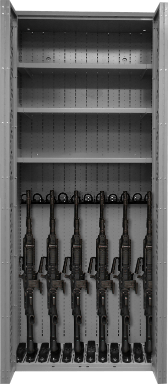 Combat Weapon Storage - 85 inch Weapon Rack - M249 SAW & Shelves