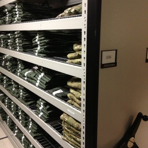Military Uniform Mobile Shelving System - Uniform Storage - Tactical Storage