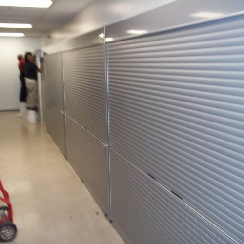Armory Storage Shelving with roll down locking doors