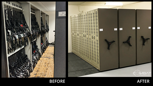 Before & After - Replacing Weapon Shelving with Combat Mobile Weapon Storage System