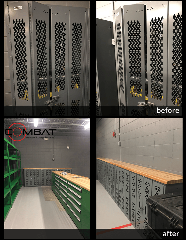 Before - Failed Weapon Rack Physical Security Inspection - After - Combat Weapon Racks